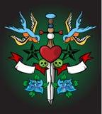 Retro disegno del tatuaggio Fotografie Stock