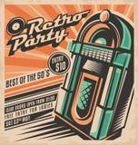 Retro disegno dell'invito del partito Fotografie Stock