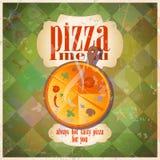 Retro disegno di scheda del menu della pizza. Fotografie Stock Libere da Diritti