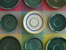 Retro dishes geometrical still life design, top view