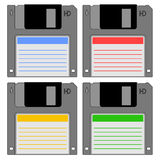 Retro diskette with color stick. Illustration of retro diskettes with color stick Royalty Free Stock Photography