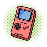 Retro dispositivo tenuto in mano portatile del gioco su fondo bianco isolato fotografia stock libera da diritti