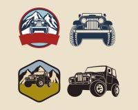 Retro distintivi con Jeep Illustration Fotografia Stock