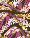 Retro distorted floral graphic design vector illustration