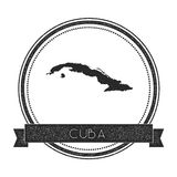 Retro distressed Cuba badge with map. Royalty Free Stock Photos