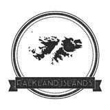 Retro distressed Falkland Islands Malvinas. Retro distressed Falkland Islands Malvinas badge with map. Hipster round rubber stamp with country name banner Stock Photos