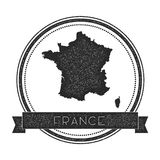 Retro distressed France badge with map. Stock Photos