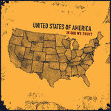 Retro distressed insignia with US map. Stock Photography