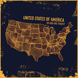 Retro distressed insignia with US map. Royalty Free Stock Photos