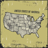 Retro distressed insignia with US map. Royalty Free Stock Images