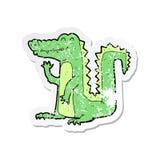 Retro distressed sticker of a cartoon crocodile. A creative illustrated retro distressed sticker of a cartoon crocodile vector illustration