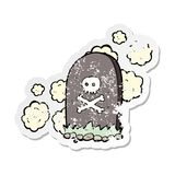 Retro distressed sticker of a cartoon grave. A creative retro distressed sticker of a cartoon grave royalty free illustration