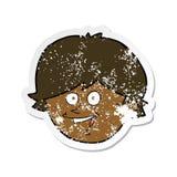 Retro distressed sticker of a cartoon happy boy face. Illustrated retro distressed sticker of a cartoon happy boy face vector illustration