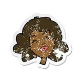 Retro distressed sticker of a cartoon happy female face. Illustrated retro distressed sticker of a cartoon happy female face stock illustration