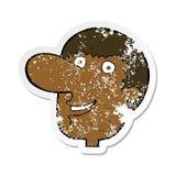 Retro distressed sticker of a cartoon happy male face. Illustrated retro distressed sticker of a cartoon happy male face vector illustration