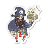 Retro distressed sticker of a cartoon pirate captain with treasure chest. A creative retro distressed sticker of a cartoon pirate captain with treasure chest royalty free illustration