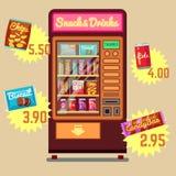 Retro distributore automatico di vettore con gli spuntini e le icone piane delle bevande Fotografia Stock