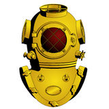 Retro diving helmet. Isolated illustrations, image format - square Stock Photography