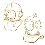 Retro diving suit helmet Stock Image
