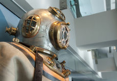 Retro diving suit. With steel and copper dive helmet Royalty Free Stock Photography