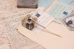 Retro documenti della scrittura a mano dell'annata Immagini Stock Libere da Diritti