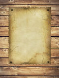 Retro documento di vecchio stile sulla parete di legno Fotografia Stock Libera da Diritti