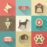 Retro dog icons set. Vector illustration for web,. Mobile application design. Pet animal silhouette. Profile canine head, full, collar, kennel, cup, medal Stock Photo