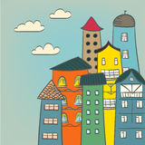 Retro domów rysować Zdjęcie Stock