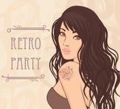 Retro donkerbruine meisje van de vin Royalty-vrije Stock Afbeelding