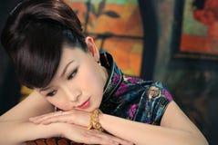 Retro donna cinese Fotografia Stock