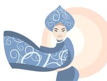 Retro. Donna in costume nazionale della Russia, kokoshnik Fotografie Stock