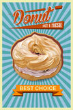 Retro Donut Poster. Promotional sign vector Stock Photo