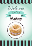 Retro Donut Poster. Promotional sign vector Royalty Free Stock Images