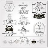 Retro doodle catchwords emblems whiteboard Royalty Free Stock Image