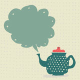 Retro doodle kitchen teapot with speech bubble Stock Image