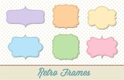 Retro Doodle Frame Borders Set. Retro doodle tags set of six illustrated vector frame borders Stock Photos