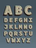 Retro doopvont. Uitstekend alfabet Stock Afbeelding