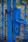 Retro door with a padlock and chain Stock Photo