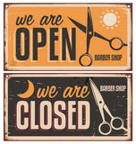 Retro door signs for barber shop. Vintage metal sign set with scissors. Creative vector sign design on old and rusty background stock illustration