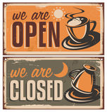 Retro door signs for coffee shop or cafe bar Stock Photo