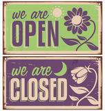 Retro door signs for flower shop or beauty salon Royalty Free Stock Photography