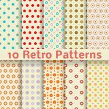 Retro dot vector seamless patterns (tiling). Stock Photos