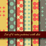 Retro dots seamless patterns. Royalty Free Stock Images