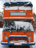 Retro double-decker English bus. In front view Stock Image
