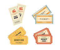 Retro double  tickets set Royalty Free Stock Images