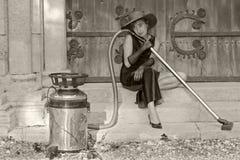 retro drömma hushållerska royaltyfri fotografi