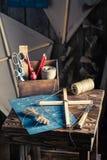 Retro- Drachen und Sachen, zum es zu machen Stockfotografie