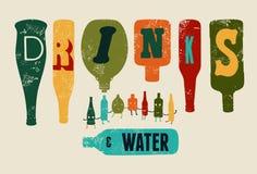 Retro Dranken en het Water van de grungeaffiche Inzameling van grappige flessen Vector illustratie Royalty-vrije Stock Foto's