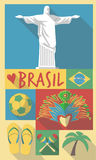 Retro Drawing of Brazil Sao Paulo Cultural Symbols Royalty Free Stock Photos