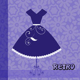 Retro dress Esp10. Retro Dress over flower pattern Royalty Free Stock Image